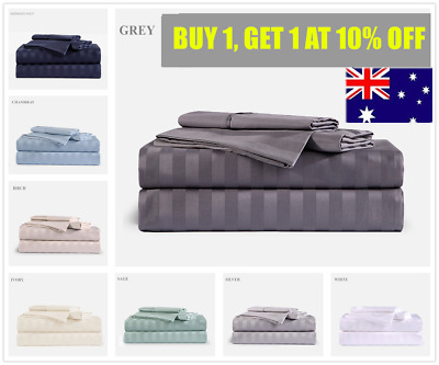 1000TC Cotton Double,Queen or King Size Bed Sheet Set (Stripe).4 Pieces