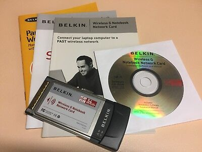 BELKIN Wireless G Notebook PCMCIA Type 2 Network Card (54mbps) & Manuals