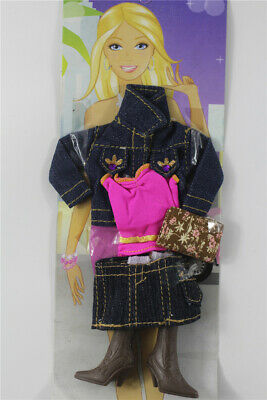 5in1 Fashion top jacket +vest +skirt+boots+bag FOR 11.5in.Doll Clothes Outfit