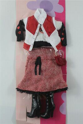 5in1 Fashion top jacket +vest +skirt+boot+bag FOR 11.5in.Doll Clothes outfit