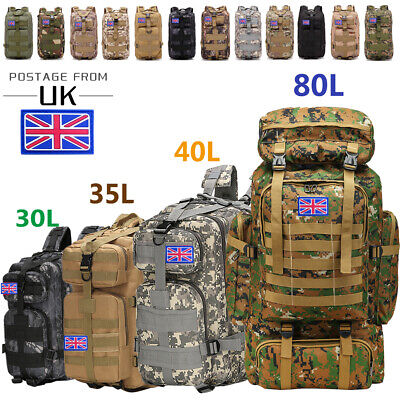 30L/40L/80L Military Tactical Army Rucksacks Molle Backpack Camping Hiking Bag