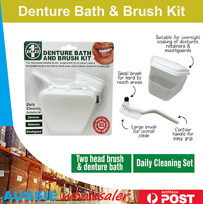 Au DENTURE CLEANING BATH & BRUSH SET | False Teeth Cleaning Set Brush Cleaner