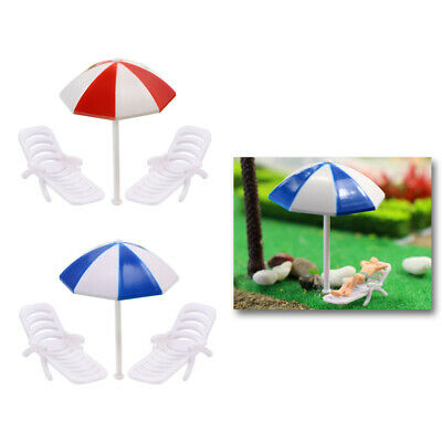 TYS19050 2 Sets Parasols Sun Loungers Deck Chairs Bench Settee O Model Train