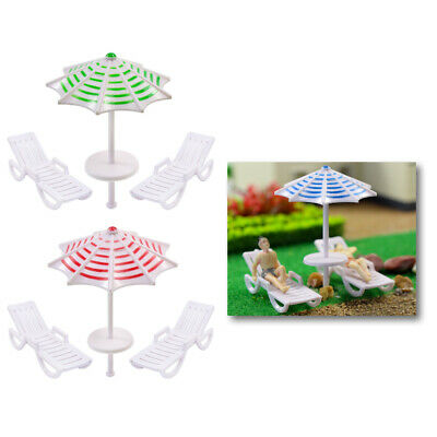 TYS25050 2 Sets Parasols Sun Loungers Deck Chairs Bench Settee 1:50 Model Train