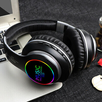 LED Bluetooth 5.0 Wireless Headphones Earphones Headset with Mic For IOS Android