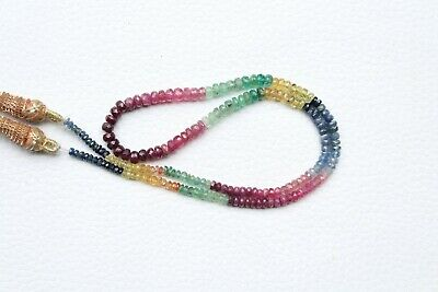 """100% Natural Fine Gemstone Precious Multi Sapphire Faceted Beads 18"""" Necklace A1"""