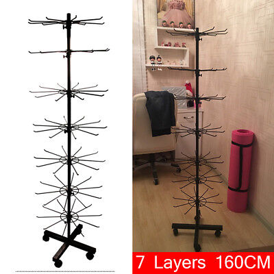 Rotating Iron 7-Tier Revolving Stand Rack Shop Jewelry Keyring Display Hanger !