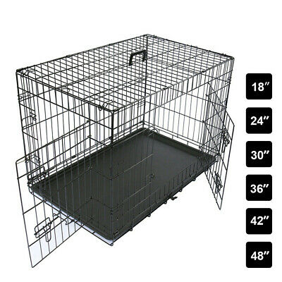 "Black Dog Cage 24"" 30"" 36"" 42"" 48"" Pet Animal Foldable Transport Carrier Crates"