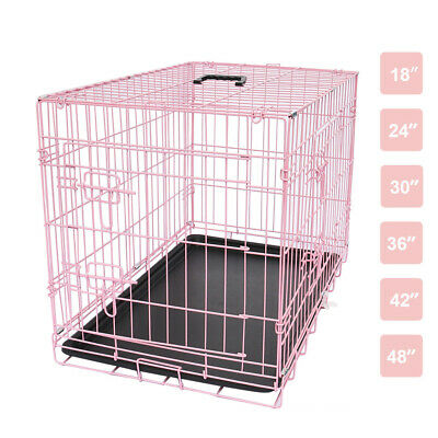 "24"" 30"" 36"" 42"" 48"" Dog Cage Pet Puppy Foldable Transport Carrier Crates Pink"