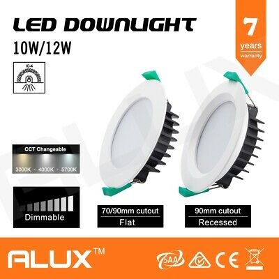 10W/12W Dimmable Led Downlight 70Mm/90Mm Cutout Cct Tri Colour Saa Flat/Recessed
