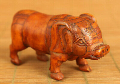 lovely chinese old copper hand carved pig statue netsuke collectable decoration