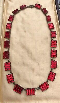 Vintage Deco Czech Crystal Red Necklace