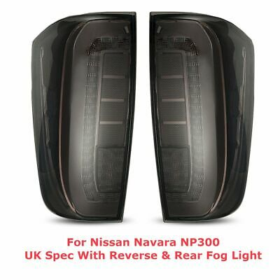Smoked Rear Tail Lights For Nissan Navara NP300 - UK Spec with Fog & Reverse
