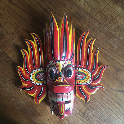 Mask Wooden Painted Tribale - Sri Lanka - Dieu of Fire