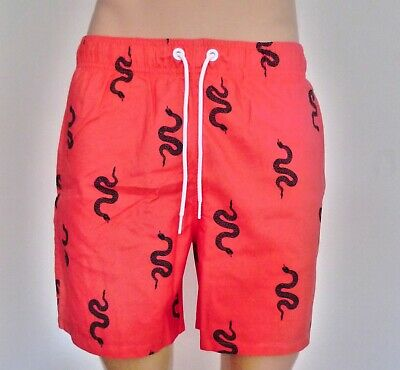 Hollister Mens Guard Fit Swim Trunks Shorts Coral Snake Print M L RRP £29