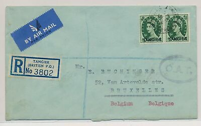 LK51603 Morocco Tanger to Brussels Belgium registered cover used