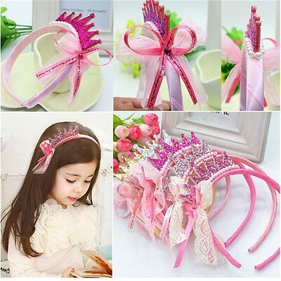 Princess Birthday Party Crown Tiara Hair Head Band For Girls Kids Children Baby