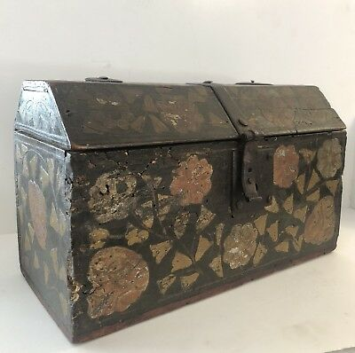 Antique Wooden Paint Decorated 18th Century Spanish Colonial Lock Box