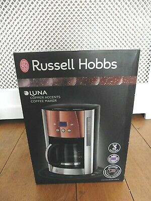 Russell Hobbs LUNA Copper Accents Coffee Maker. 1.5L. NEW in Box