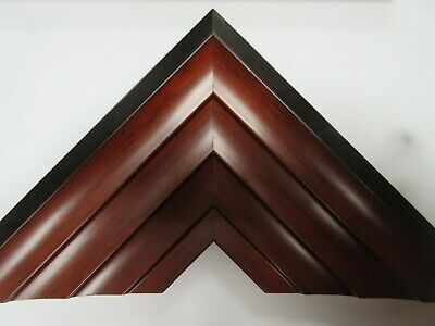 4 x 1m lengths Wide Bevelled Walnut Wooden Picture Frame Moulding 80mm wide