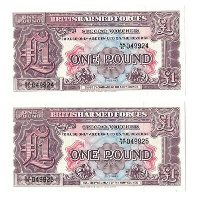 2th Series British Armed Forces 1 Pound Banknote E/F  Consecutive serial no.s