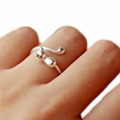 Women Lovely Cat Silver Plated Adjustable Opening Finger Ring Lady Jewelry Gift