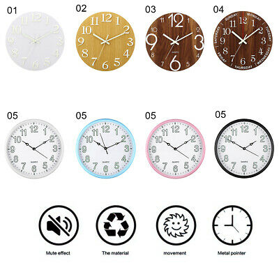 12''  Luminous Wall Clock Glow In The Dark Silent Quartz Indoor Outdoor Home !