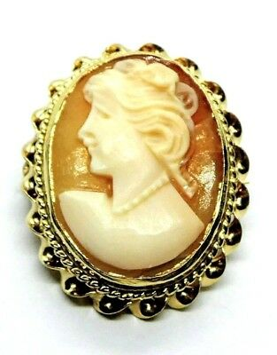Vintage 14K Yellow Gold Lady Cameo Carved Shell Small Pin/Brooch Pendant