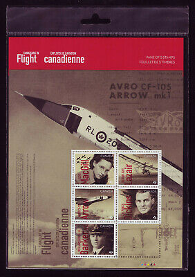 "CANADA 2019 Canadians in Flight, Sheet #3171, 5 x ""P"" Canadian aviation, pkg MNH"