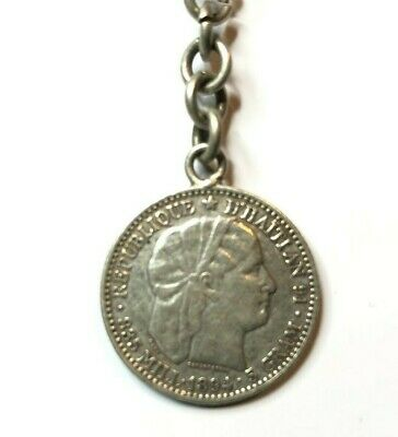 1894 Silver Coin Haiti  20 CENTS attached to old keyring