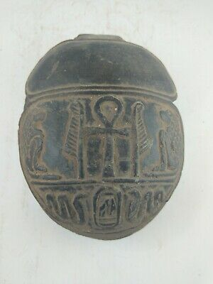 RARE ANTIQUE ANCIENT EGYPTIAN Scarab Beetle Key of Life Stone 1600 Bc