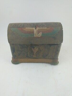RARE ANTIQUE ANCIENT EGYPTIAN Jewelry Box Tutankhamun & Isis 1830-1740 Bc