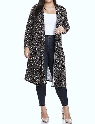 Moa Collection Leopard Print Stretch Cardigan Duster Sweater - Plus 1XL 2XL 3XL