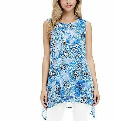 NWT Fever Ladies' Double Layer Tank Top Tunic Blue Mosaic Glass Sleeveless SMALL