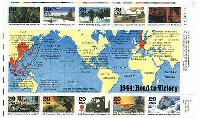 WWII World at War unused US stamps showing events of 1944 with map  WW2
