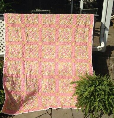 "Antique Quilt: Pinwheel: Pink 64""x 88"""