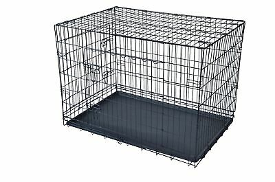 """Black Pet Folding Cage Kennel with ABS Tray 24""""x 30"""""""