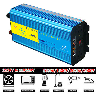 1000W-3000W LED Pure Sine Wave Power Inverter  DC12/24V To AC110/220V Converter