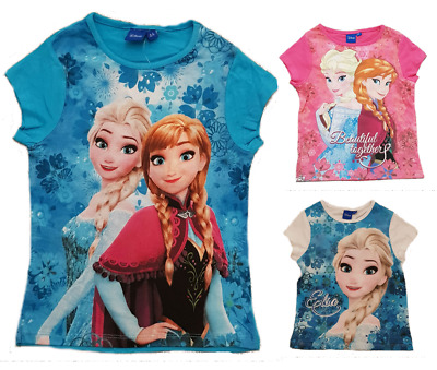 Girls Disney Frozen T-shirt Official Licence Short Sleeve Top Age 4-8 Years