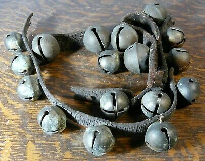 Antique Horse Sleigh Bells Brass w/ Leather Strap Set of 17