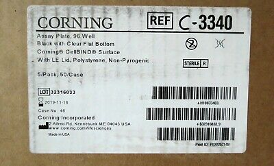 Case 50 Corning Black CellBind 96-Well Assay Plates Clear Bottom 360uL # 3340
