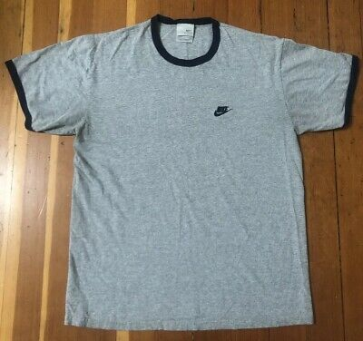 6d5186d068514 NIKE SPELL OUT Swoosh 90s Vintage 1990s Ringer Tee Shirt Size Large Blue  Grey