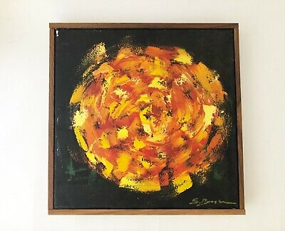 Vintage Mid Century Modern 1960's 1970's Oil Painting Wall Hanging