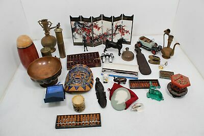 Vtg Assorted Collectible Junk Drawer Lot Figurines Abaci Brass Cast Iron Banks