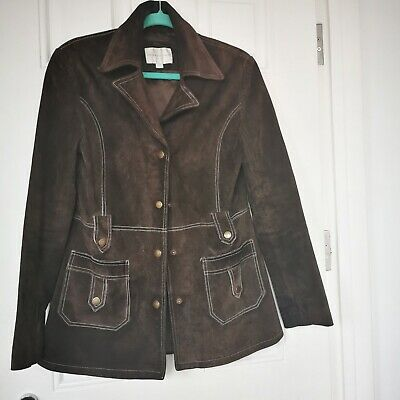 Vintage 60s 70s Dark Brown Suede  jacket M Hippy