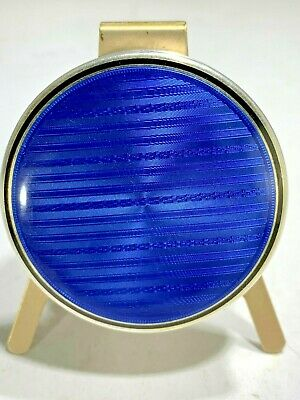 Antique Sterling Silver French  Blue Guilloche Enamel Round Trinket Box
