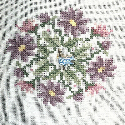 BLUE BIRD Finished Completed Just Nan Cross Stitch W Bead Floral Flowers