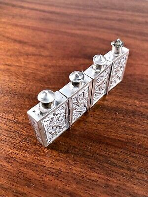 (4) Wonderful Chinese Solid Silver Folding Snuff Bottles: Floral & Characters