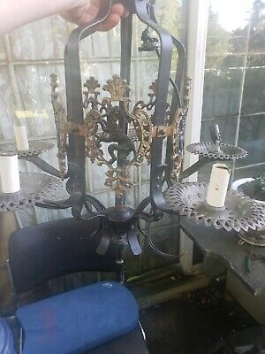 Gothic Antique Hanging 5 Bulb Cast Iron Ceiling Light Fixture. Medieval