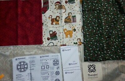 "TREE SKIRT Quilt Kit, Thangles w/ Pattern & Moda Fabric 49"" x 49"" Cat & Mouse"